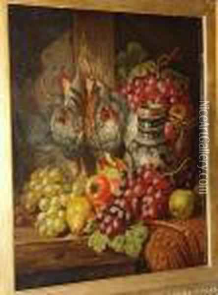 Green And Red Grapes, Pears,  Apples, A Tankard And A Brace Of Partridge On A Wooden Shelf Oil Painting - Charles Thomas Bale