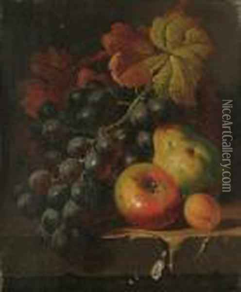 Still Life Of Fruit And Vine Leaves On A Ledge; And A Companion Oil Painting - Charles Thomas Bale