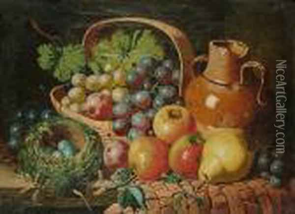 A Still Life Of Fruit, A Birds Nest And A Jug; & A Companion Oil Painting - Charles Thomas Bale
