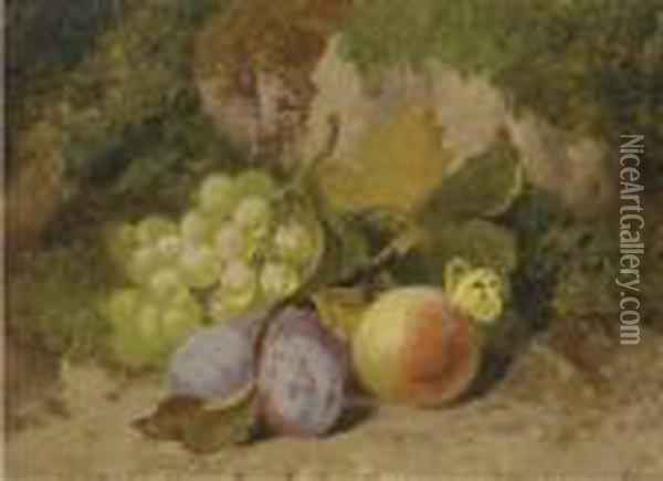 Grapes, Plums, A Peach And A Butterfly, On A Mossy Bank Oil Painting - Charles Thomas Bale