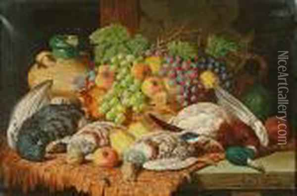 Still Life With Game And Fruit Oil Painting - Charles Thomas Bale