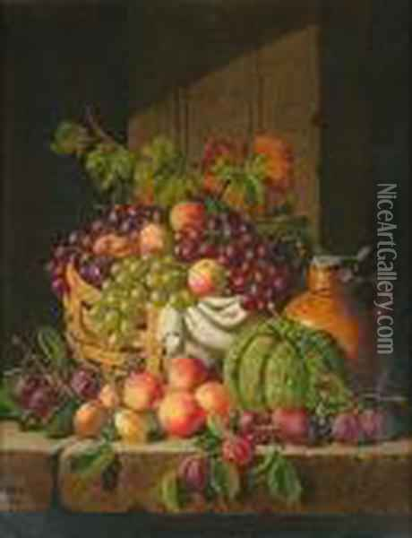 Still Life Of Fruit, A Pumpkin And An Ewer Oil Painting - Charles Thomas Bale