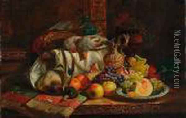 Still Life Of Fruit, Game And An Ewer Oil Painting - Charles Thomas Bale