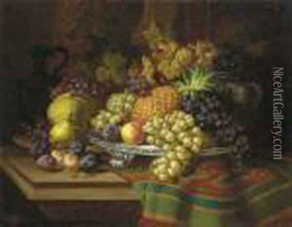 Pineapples, Grapes, Plums And Pears On A Silver Tray With A Jar On A Draped Wooden Ledge Oil Painting - Charles Thomas Bale