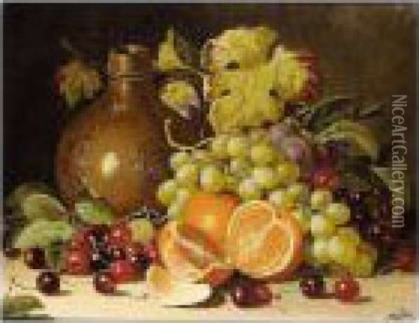 Still Life With Oranges And Jug; Still Life With Bird And Apples Oil Painting - Charles Thomas Bale