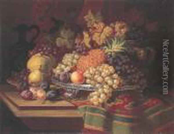 Still Life With Fruit Oil Painting - Charles Thomas Bale