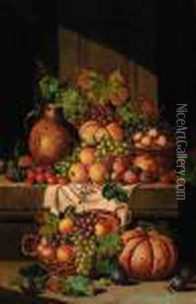 A Flask On A Ledge, With Baskets Of Grapes, Plums, Apples Andsquashes Oil Painting - Charles Thomas Bale