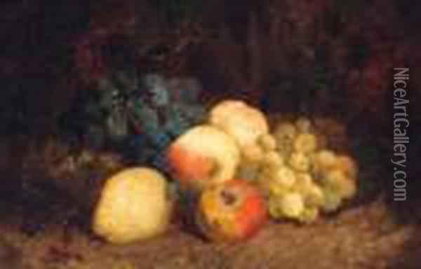 Grapes, Peaches, An Apple And A Pear, On A Mossy Bank Oil Painting - Charles Thomas Bale