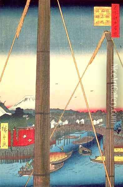 Inari Bridge and Minato Shrine Teppozu plate 77 from the series One Hundred Famous Views of Edo Edo Period Ansei Era Oil Painting - Utagawa or Ando Hiroshige