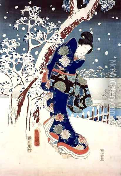 Snow Scene in the Garden of a Daimyo part of Triptych Oil Painting - Utagawa or Ando Hiroshige