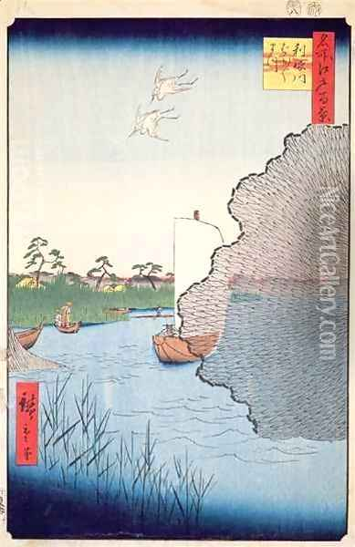 Scattered Pines Tone River no 71 from One Hundred famous views of Edo Oil Painting - Utagawa or Ando Hiroshige