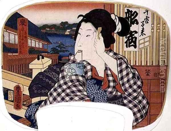 Summer the river at Ryoguku A geisha combing her hair design for a fan from a set of four illustrating the seasons Oil Painting - Utagawa or Ando Hiroshige