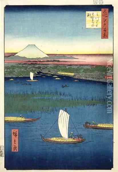 Marshy island off the mouth of the River Sumida with Edo and Mt Fuji in the distance Oil Painting - Utagawa or Ando Hiroshige