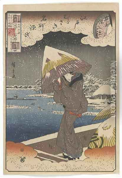 Famous Sites in Edo and Chapters from the Tale of Genji: Ferry on the Sumida River matched with the Ukifune Chapter Edo period Oil Painting - Utagawa or Ando Hiroshige