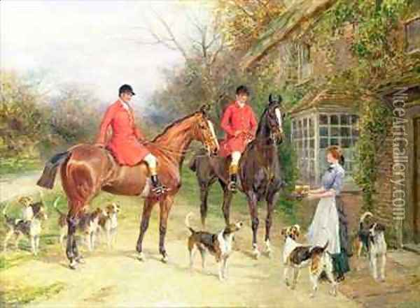 A Stop at the Fox Inn Oil Painting - Heywood Hardy