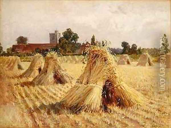 Corn Stooks by Bray Church Oil Painting - Heywood Hardy