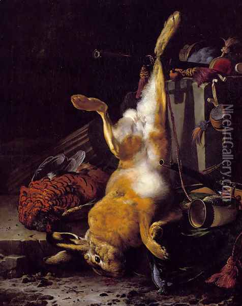 A Still Life Of Dead Game And Hunting Equipment Oil Painting - Melchior de Hondecoeter