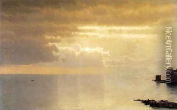 A Calm Sea, Mentone Oil Painting - William Stanley Haseltine