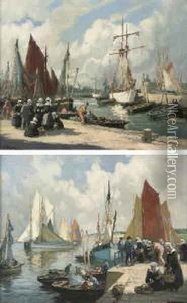 Unloading The Catch, Concarneau; And On The Quay, Concarneau Oil Painting - Henri Alphonse Barnoin