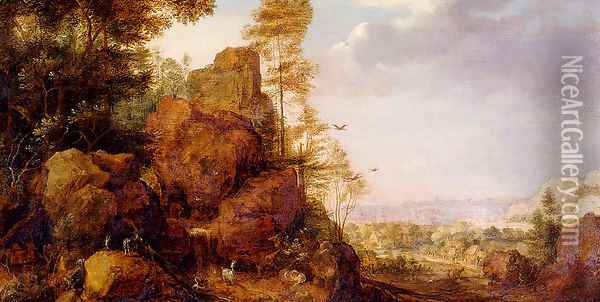 A Mountainous Lanscape With A Rocky Outcrop By The Edge Of A Wood, Goats And A Reindeer Resting By A Waterfall, A Village In An Extensive Landscape Beyond Oil Painting - Gillis Claesz. De Hondecoeter