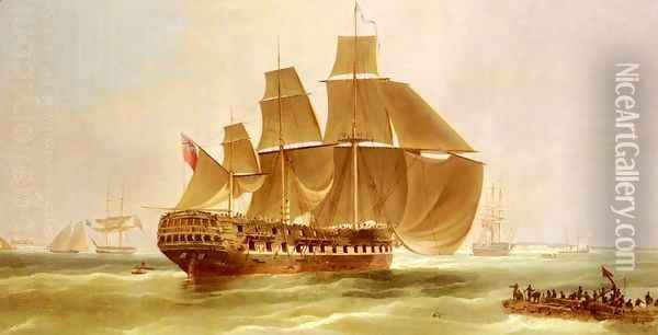 An East Indiaman Entering Madras Harbour, India Oil Painting - William John Huggins