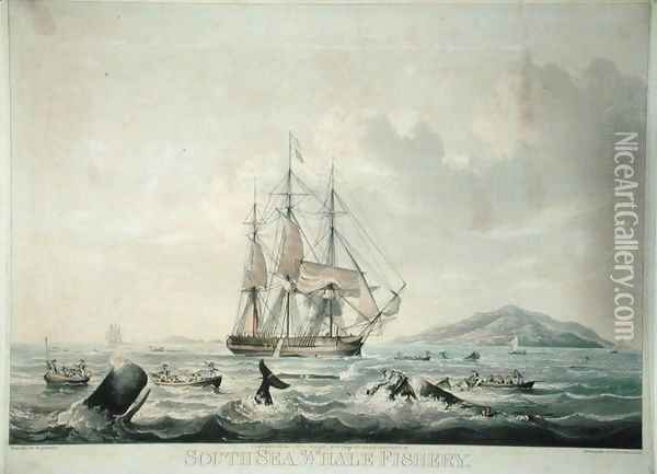 South Sea Whale Fishery Oil Painting - William John Huggins