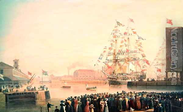The Opening of St Katherines Dock Oil Painting - William John Huggins