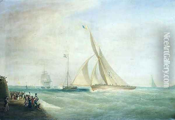 HMS Coquette and Falcon with Lord Yarborough on board and the Royal Yacht with King William on board off the Isle of Wight Oil Painting - William John Huggins
