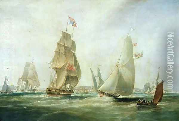 Yachts Racing off the Castle Cowes Oil Painting - William John Huggins