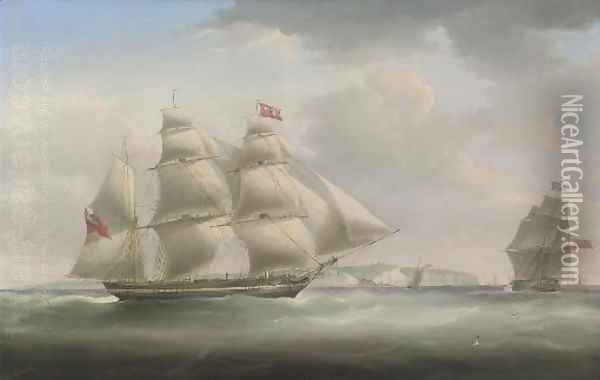 A postal packet in two positions, in the Channel off Dover, with the pilot cutter approaching Oil Painting - William John Huggins