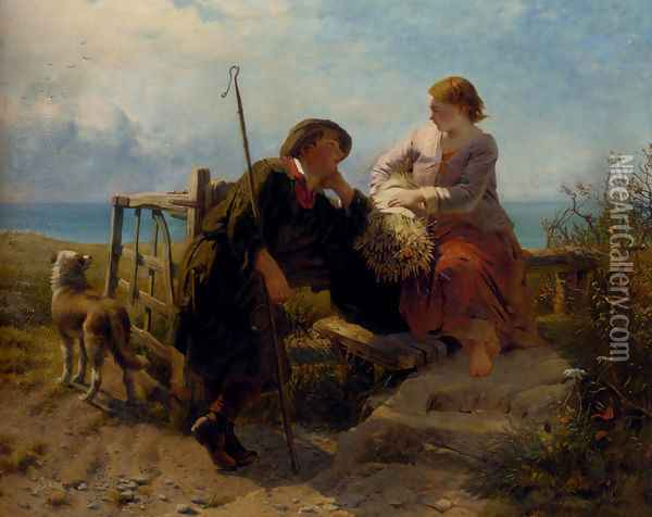A Moment's Rest Oil Painting - James John Hill