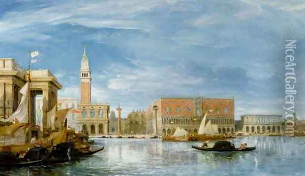 View of the Molo and the Palazzo Ducale in Venice Oil Painting - James Holland
