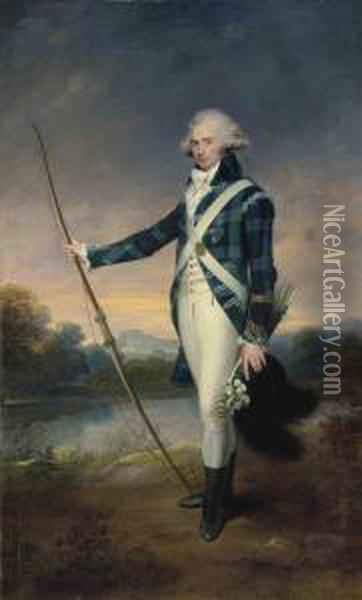 Beechey, R.a. Portrait Of  George Douglas, 16th Earl Of Morton, K.t. ,full-length, Holding A Bow,  In The Dress Of The Royal Company Ofarchers, Holding A Longbow And A  Black-plumed White Cockaded Cap,in Holyrood Park, With Duddingston Loch  And Edinb Oil Painting - Sir William Beechey