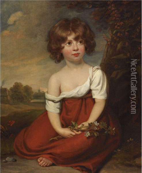 Portrait Of A Lady, Said To Be Elizabeth Brudenell-bruce Oil Painting - Sir William Beechey