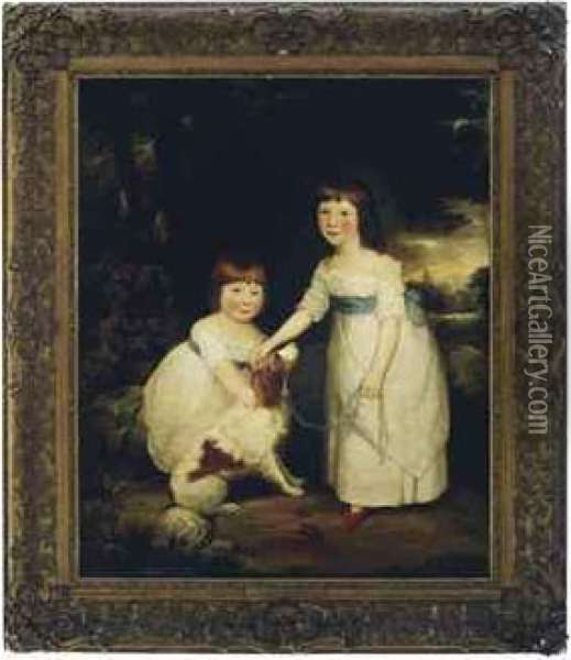 Portrait Of Two Young Sisters With A Dog In A Landscape Oil Painting - Sir William Beechey