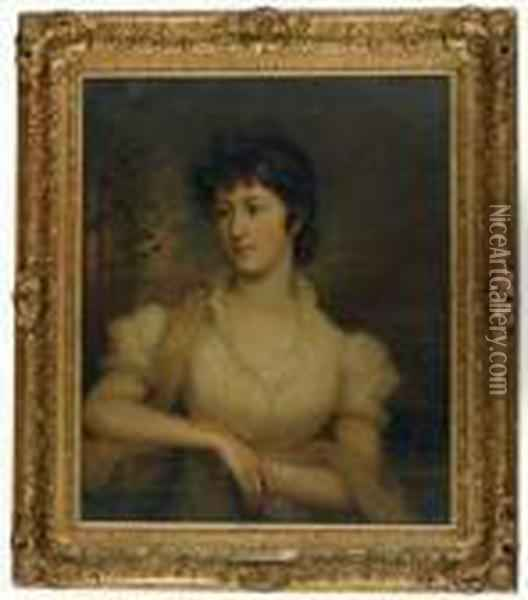 Portrait Of A Lady In A White Dress Holding A Book Oil Painting - Sir William Beechey