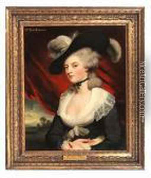 Portrait Of Mrs Mary Robinson Oil Painting - Sir William Beechey