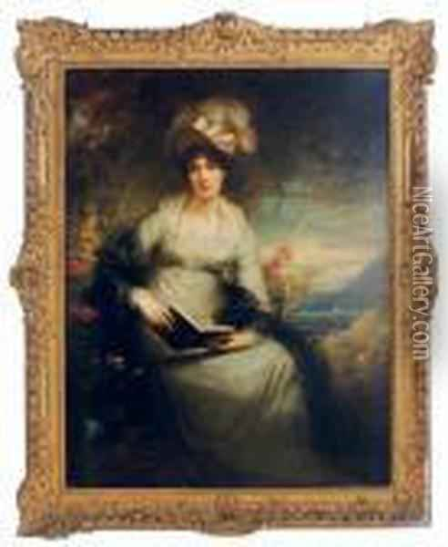 Portrait Of Charlotte Lady  Bernard, Seated Three-quarter-length,holding A Book, With A Coastal  Landscape Beyond Oil Painting - Sir William Beechey