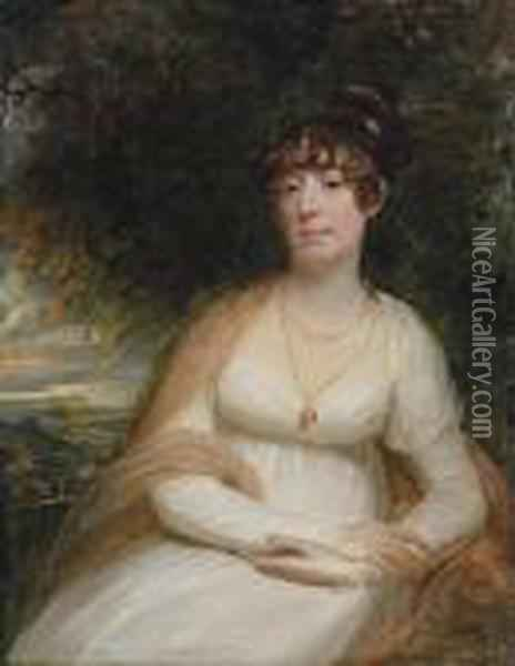 Portrait Of Josephine Sophia  Newton, Lady Cooper, Three-quarter-length, Seated, In A White Gown, With  A Shawl And Pendant Brooch, A Landscape Beyond Oil Painting - Sir William Beechey