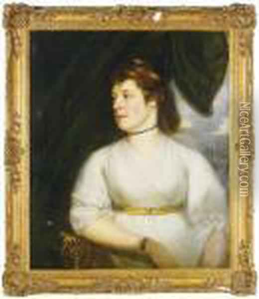 Portrait Of Lady Sybella Furnour, Half-length, In A White Dress Oil Painting - Sir William Beechey