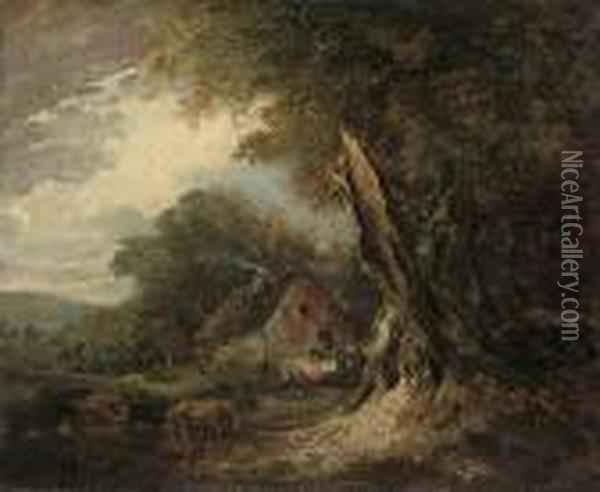 A Wooded Landscape At 'nool Bog' With Cattle Grazing By A Cottage Oil Painting - Sir William Beechey