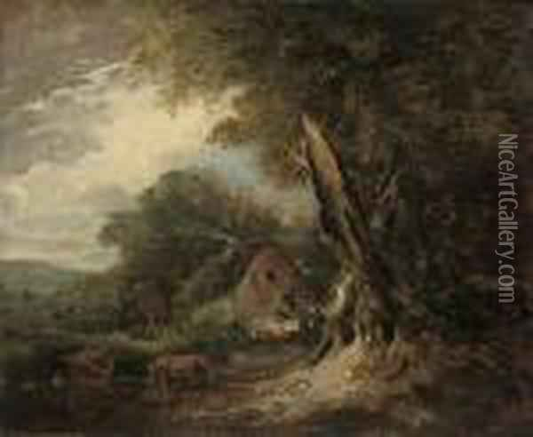 A Wooded Landscape At 'nool Bog' With Cattle Grazing By Acottage Oil Painting - Sir William Beechey