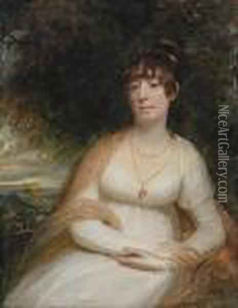 Portrait Of Josephine Sophia  Newton, Lady Cooper,three-quarter-length, Seated, In A White Gown, With A  Shawl Andpendant Brooch, A Landscape Beyond Oil Painting - Sir William Beechey