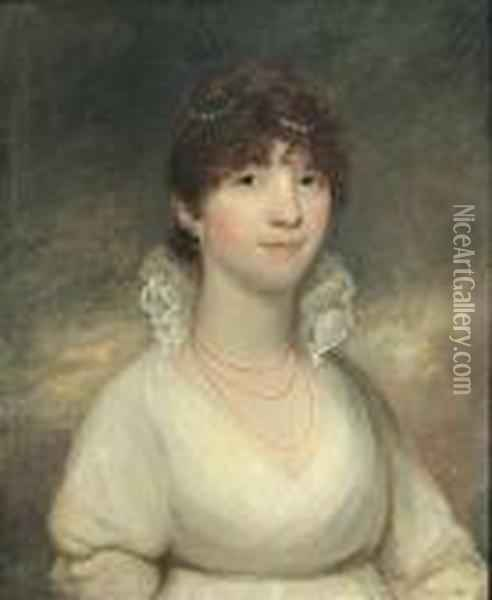 A Portrait Of A Lady In A White Dress, Said To Be Lady Stanhope Oil Painting - Sir William Beechey