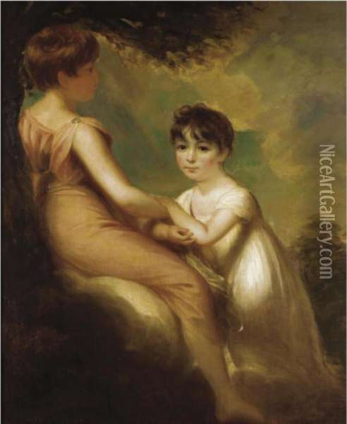 Portrait Of Two Children Oil Painting - Sir William Beechey
