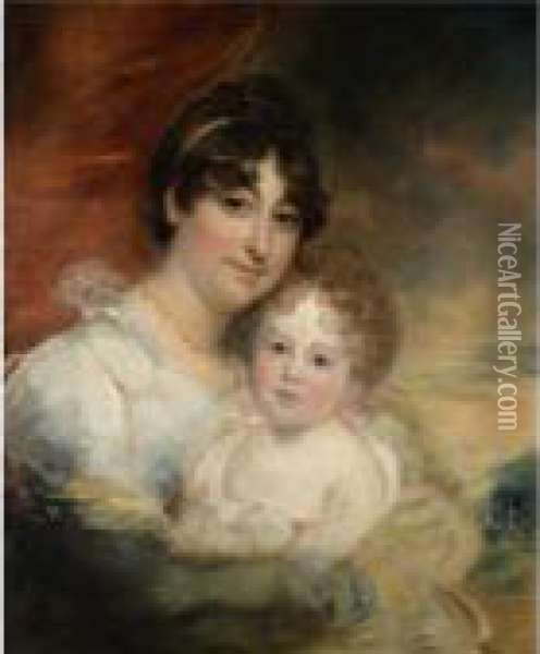 Portrait Of Mrs Goldsmith And Her Daughter Oil Painting - Sir William Beechey