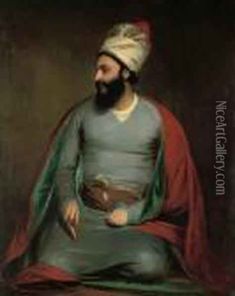 Portrait Of Mirza Abu'l Hassan Khan Oil Painting - Sir William Beechey