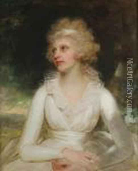 Portrait Of A Lady, Said To Be  Mrs Daniel Raymond Barker, Half-length, In A White Dress With A Lace  Collar Oil Painting - Sir William Beechey