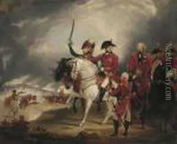 King George Iii Reviewing The 3rd. Dragoon Guards Oil Painting - Sir William Beechey