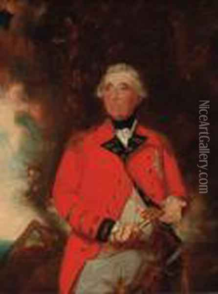 Portrait Of George Iii, Small Three-quarter-length, In Uniform,holding A Key Oil Painting - Sir William Beechey